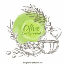 手绘橄榄背景,绿色圆形染色