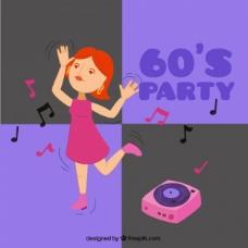 六十年代党的背景下跳舞的女人