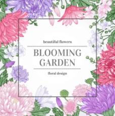 彩色手绘菊花背景