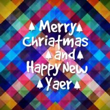 七彩几何背景的圣诞和新年