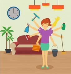 清洁卫生的家庭妇女
