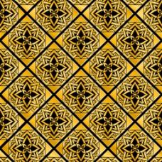 金色格子花纹背景图片