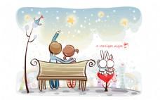 坐在长椅上看星星的卡通情侣
