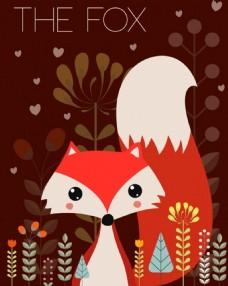 可爱红色狐狸鲜花背景图