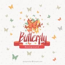 蝴蝶和红丝带的背景