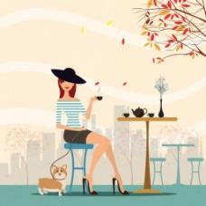 喝茶的美女背景图