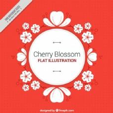 红色背景,樱花装饰