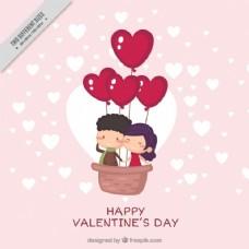 可爱的情人背景与快乐的年轻夫妇