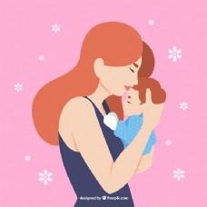 母亲节的背景:可爱的女人和她的儿子