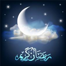 白云月亮星星图片