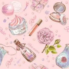 手绘化妆品插画