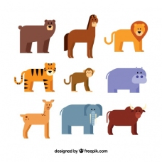 九种动物的扁平包装