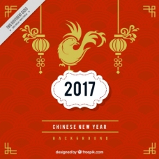 奇妙的中国新年背景与红色几何图形