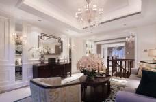 美式别墅客厅装修效果图