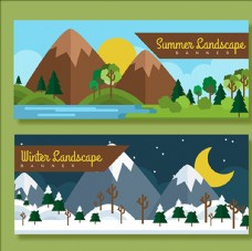 卡通夏季和冬季横幅