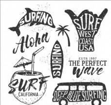 手绘夏季冲浪徽章标题