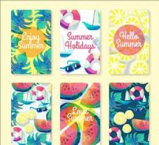 水彩效果美丽的夏日卡片