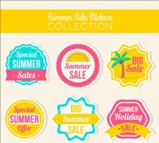 复古的夏季销售标签