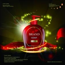 红色护肤乳液精油广告图瓶子矢量