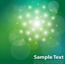 清新绿色渐变背景上的发光粒子