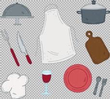 手绘各种厨房用品免抠png透明图层素材