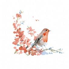 手绘水墨小鸟元素