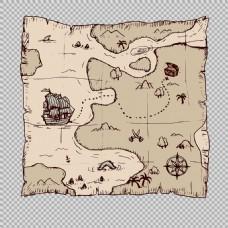 复古风格海盗藏宝图免抠png透明图层素材