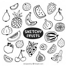 手绘多种水果
