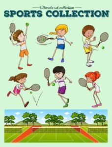 网球运动员和网球场插图