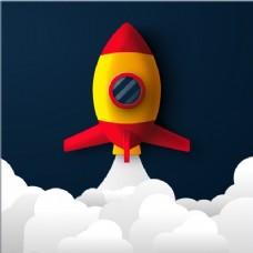 深蓝色背景火箭