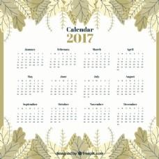 复古风格的日历2017