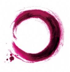 手绘紫色水墨元素