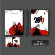 黑色和红色污渍的日记封面设计