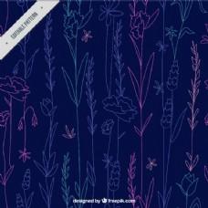 蓝色背景上的小花