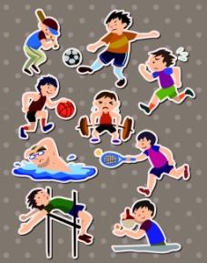 男生运动儿童卡通贴纸标签矢量