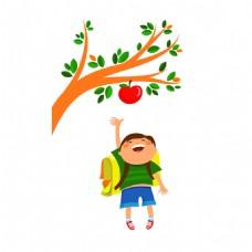 手绘儿童苹果元素