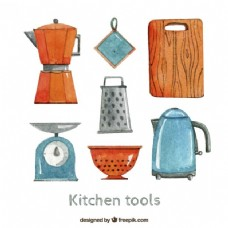 手绘厨房工具
