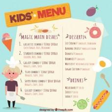 手绘儿童菜单与年轻厨师和产品