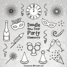 各种手绘新年派对用品