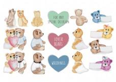 可爱玩具泰迪熊新娘手绘水彩矢量