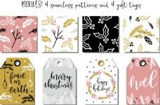 动态树叶雪圣诞文字包装图案设计矢量素材