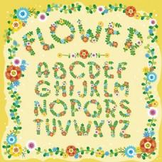 26个彩色花卉字母矢量