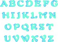 蓝绿渐变字母