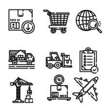 手绘线性货物运输图标