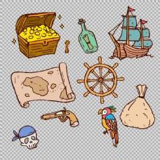 手绘风格海盗元素图免抠png透明图层素材