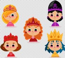 彩色戴皇冠女人头像免扣png透明图层素材