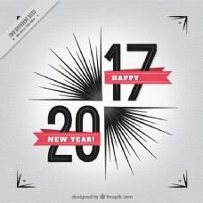 带红丝带的新年背景