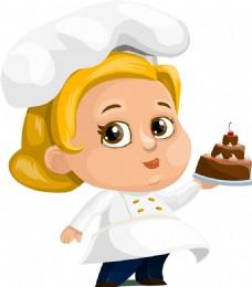 卡通小厨师蛋糕素材