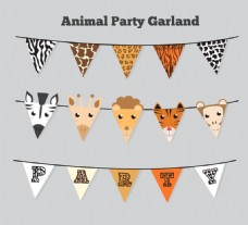 3款创意动物三角拉旗矢量