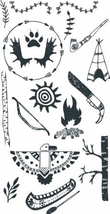 夏天野营矢量涂鸦装饰元素合集